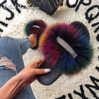 Ethel Anderson Gerçek Kürk Kabarık Terlik Kadın Ayakkabıları için Kadın Kristal Dekorasyon Ünlü Marka Ayakkabı Tasarımcı Slaytlar Q0508