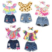 Vieeoease Girls sets Kids Clothing 2021 Summer Fly Sleeve Tie Dyed Design Top Hole Shorts Denim with headband CC-854