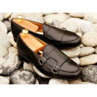 남성용 PU 클래식 패션 데일리 비즈니스 캐주얼 블랙 라운드 발가락 더블 버클 몽크 신발 낮은 뒤꿈치 편안한 신발 ZQ0202