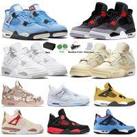 Jordan4s Basketball shoes Travis Scott x Air Jordan Jorden 4 Retro Jumpman Off White Sail 4s IV Infrared Wild Things University Blue Veterans Day Camo White Men Designer Sneakers
