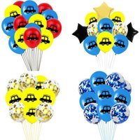 Party Decoration Happy Children's Birthday Truck Balloons Confetti Ballons Accessories 12 Inch Car Latex Air Decor For Boys Favors