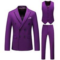 Luxury Purple Men's Suit 3 Pcs Fashion Boutique Double-breasted Solid Color Wedding Dress Slim Business Banquet Formal Suits & Blazers