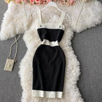 Casual Dresses 2021 Summer Design Sense Color Matching Tight Waist Slimming And Elastic Hip Knitted Suspender Dress Sleeveless