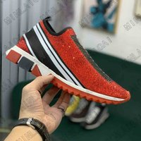Mens Designer Sorrento Slip-on Schuhe Diamant Sneakers Stretch Italy Marke Womens Luxurys Strick Socken Trainer Zweifarbige Gummi Micro Sohle