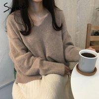 Syiwidii Übergroße Pullover Frauen Ribbed Gestricke V-Ausschnitt Lose Pullover Lässig Solid Herbst Winter Kleidung Frauen Grün Rosa Schwarz1