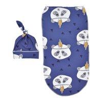 2 STÜCKE Weiche Baby Swaddle Muslin Decke Niedliche Tier Gedruckt Neugeborenen Säuglings Baby Schlafsäcke Reißverschluss Wrap Swaddling Decke + Hüte 928 Y2