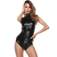 Black Latex Bodysuit Искусственный кожаный Cousuit Erotic WetLook Комбинезон Sexy Club Polle Танцующий Костюм Игра Униформа Плайсуита Женские Комбинезоны R