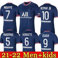 Mbappe Kean Soccer Jersey 21 22 Maillots de Football Shirt 2021 2022 Marquinhos Verratti Kimpembe الرجال + الاطفال الفانيلة مجموعات الجوارب زي enfants مايلوت القدم