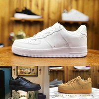 Venta al por mayor 2021 Nuevos diseñadores Outdoor Clásico Fuerzas Hombres Bajo Skateboard Shoes Barato One Unisex 1 Knit Euro Airs Altos Mujeres All Blanco Negro Spece Sports Shoes V63