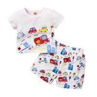 Boys Clothing Sets Boy Suit Children Outfits Kids Wear Baby Summer Printed Short-Sleeved Top T-shirts Shorts Pants 2Pcs B6205