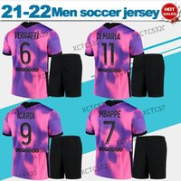 Paris 4. Fussball Jersey 2021 2022 MAILLOT Badeanzug Football Kit Purpurrote Rosa Mbappe Icardi Männer Erwachsene Uniform Customized Shirt + Shorts