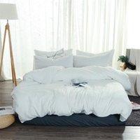 لينة غسلها القطن مجموعة مفروشات أبيض النوم التوأم كامل الملكة الملك لحاف غطاء السرير ورقة سادة الكبار الصلبة اللون أغطية السرير مجموعات