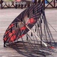 Paño de seda Paraguas de encaje Mujeres Traje Pografía Props Saseled Yarned Chinese Classical Papel de aceite parasol 210826