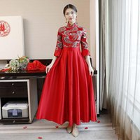 Ethnic Clothing Red Chinese Style Bridesmaid Wedding Dress Mandarin Collar Elegant Qipao Plus Size XXXL Sexy Cheongsam Vestidos