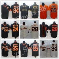 2021 Hombres de San Francisco Mujeres Jóvenes Jerseys de Béisbol 24 Mays Mays 28 Buster Posey 25 Barry Bonds Stitched Giants Jersey