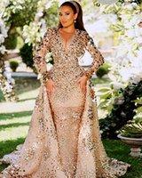 2021 아랍어 아소 에비 골드 스파클링 고급스러운 댄스 파티 드레스 페르시 크리스탈 맨 넥 저녁 정식 파티 두 번째 리셉션 가운 드레스 ZJ326