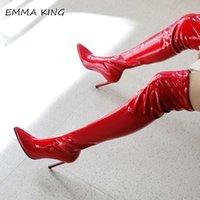 Bottes Emma King Sexy Sexy Rouge Pattent Cuir sur le genou Haut pour les femmes avec des talons aiguës de pointe 12cm