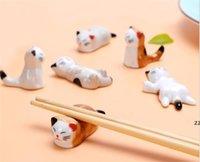 Tabela Decoração Acessórios Cerâmica Cerâmico Cat Chopsticks Rest Rest Reflação Refrigerador de Jantar Spoon Faca Faca Suporte de Forquilha Cozinha GWA5886