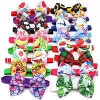 الجملة كلب الملابس بوتيز ربطات العنق نمط الفاكهة الشريط القط صغير قابل للتعديل حزام القوس التعادل لوازم الصيف