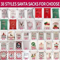 DHL 크리스마스 산타 자루 캔버스 코 튼 가방 대형 유기농 무거운 Drawstring 선물 가방 맞춤 축제 파티 크리스마스 장식