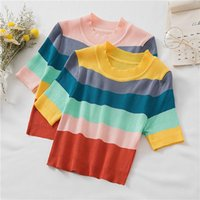 Women's T-Shirt Spring And Summer Womens T-shirts Fashion Short Sleeve Round Collar Stripe Woman Knitted Slim Fit Casual Lady