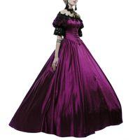 Vestidos casuales 50% gota! ¡¡Fiesta de Halloween mujeres medieval del hombro del hombro del hombro patchwork bola vestido maxi vestido
