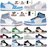 Air Jordan Retro Jumpman Basketball Chaussures 1 High University Bleu Hyper Royal Travis scotts Mid Smoke Grey Low UNC Paris White Hommes 1s Sneakers Baskets Femme