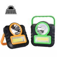 XANES® LED COB Solar Lamp Camping Light USB Portable Work Flashlight Lantern Emergency Outdoor Tent - Yellow