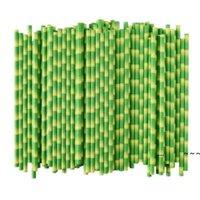 Newbiodegradável papel de palha de bambu palhas verdes eco amigável 25 pcs muito na promoção ewe5743