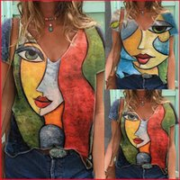 Vintage V Neck Tshirt Womens Summer Casual Abstract Character Print T Shirt Tops Female Streetwear Y2K Short Sleeve Clothes Tees X0424