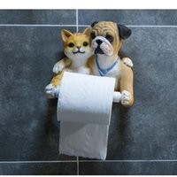 Tissue Boxes & Napkins Cute Cat Dog Wall Hanging Towel Holder Figurines Toilet Box Home Restaurant Resin Crafts Decoration