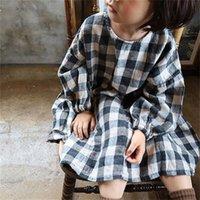 DB أحدث الكورية ins الفتيات الصغير الكتان العضوية القطن منقوشة فساتين أستراليا ربيع الخريف ألف خط الأطفال الفتيات الأميرة اللباس 2297 v2