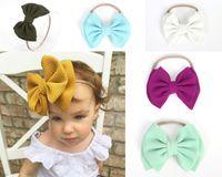 Bebé diadema grande arco accesorio para el cabello turbante elástico bowknot hairband estiramiento chica sólido bandas de color