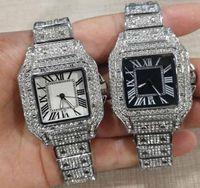 2021 고품질 남성 여성 웨이브 풀 다이아몬드 아이스 밖으로 스트랩 디자이너 시계 쿼츠 운동 커플 연인 시계 손목 시계 33mm 39mm 사각형 모양