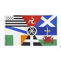 3x5ft 90x150см Европейская кастрюля Celtic нации Флаг Ирландия Шотландия Уэльс Бретань Флаг для празднования DHD7265