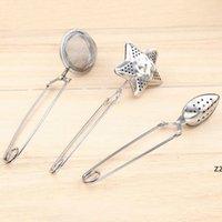 3 estilo estrella forma té infusor de té en forma de óvalo 304 colador de té de acero inoxidable infusor de la cuchara de la cuchara Herramientas de té HWB10491
