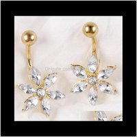 Bell Drop Consegna 2021 Gem 18 carati Gold Flower Crystal Button 316L Acciaio inossidabile Acciaio inox Piercing Dangle Belly Anelli Body Jewelry DH8TG