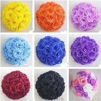 Ekskluzywny Biały Sztuczny Róża Jedwab Klower Ball Wiszący Kissing Kulki 30 CM 12 Cal Dia Na Wesele Dekoracje Dekoracje Dekoracyjne Flower