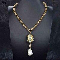 Guaguai Bijoux Gold Couleur Plaqué Chaîne Déclaration Bleu Larimar Fresh White Keshi Perle Pendentif Collier pour femmes
