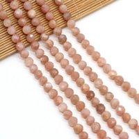 Otras cuentas de piedra natural Forma redonda Facetada Facetada Pink Aventurine Separador suelto con cuentas para joyería para hacer bricolaje Pulsera Collar Accesorios