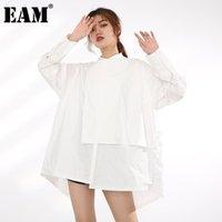 [EAM] Kadınlar Düzensiz Havalandırma Beyaz Büyük Boy Bluz Standı Yaka Uzun Kollu Gevşek Gömlek Moda İlkbahar Sonbahar 2021 1dB38700 kadın Bluzlar