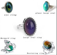 Jewelry adjustable rings Large oval mood ring