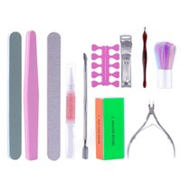 Nail Art Kits Manicure Set Professional Files Kit With Buffer Cuticle Trimmer Pusher Remover File Block Dust Brushes