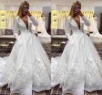 Elegant Satin A-Line Wedding Dresses Applique Lace Bridal Gowns with Pockets Sheer V-neck Sweep Train Lace-up Back Vestido de Noiva