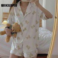Wikisspjs Pajamas Pantalones cortos de manga linda de las mujeres Kawaii Conjunto de dos piezas de verano ropa de verano Tops del sueño CUB CUB de dibujos animados PJS JP (Origin) 210831