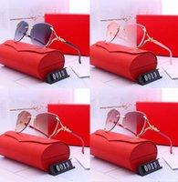 Nouveaux Sports de mode Lunettes de soleil sans chasse d'or Gold Metal Wood Lunettes De Soleil Fashion Mens Hommes Femme Léopard Buffalo Lunettes Meilleure qualité avec Boxes Gafas