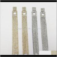 Dangle & Chandelier Earrings Jewelry Delivery 2021 Super Long Metal Hanging Drop Trendy Elegant Wedding Bridal Crystal Rhinestone Chains Tass