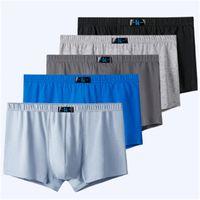 Hommes Plus Taille Taille Fat Culotte Sous-robe Fashion Tendance Élasticité Taille moyenne Boxer Boxe Designer Nouveaux Stretch Stretch Sous-vêtement