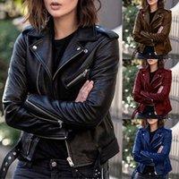Women's Leather & Faux PU Jacket Women Slim Sashes Casual Biker Jackets Outwear Female Tops BF Style Black Coat