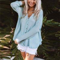 Women's Blouses & Shirts 2021 Fashion Summer Long-Sleeved V-Neck Loose Irregular Cardigan T-Shirt Shirt Women